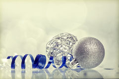Silver Christmas background with Christmas balls Stock Photos