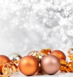 Silver Christmas background with Christmas balls Stock Image