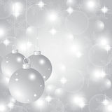 Silver Christmas background with Christmas balls. And snowflakes Royalty Free Stock Image