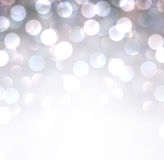 Silver christmas background. Silver defocused christmas background. Bright bokeh. Vector illustration Stock Illustration