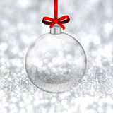Silver christmas background with glass ball. Stock Photos