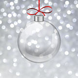 Silver christmas background with glass ball. Stock Images
