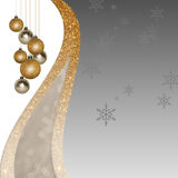 Silver Christmas background with golden balls. Card with golden glitter Christmas balls, baubles, decorations  on glossy, glamour silver and white background Royalty Free Stock Image