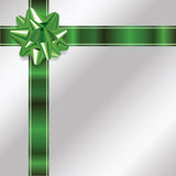 Silver Christmas Background with Green Bow and Ribbon Stock Images