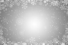 Silver christmas background. With ice crystals and snowflakes stock illustration