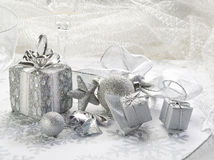 Silver christmas background Royalty Free Stock Photos