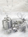 Silver christmas background Stock Photos