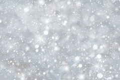 Silver Christmas Background With Snwoflakes, Bokeh And Stars, Blue Color stock photo