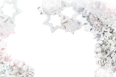 Silver christmas background. Silver and white christmas background Royalty Free Stock Photo