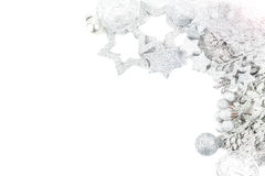 Silver christmas background. Silver and white christmas background Stock Photo