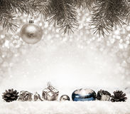 Silver Christmas Background and white snow. Silver  Christmas Background.Abstract silver bokeh background of christmas light. White snow and christmas Royalty Free Stock Images