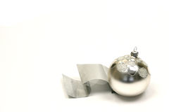 Silver christmas ball. Isolated on a white background Stock Image