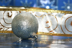 Silver Christmas ball Stock Photography