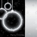 Silver Christmas Ball Card On Black Background Royalty Free Stock Images