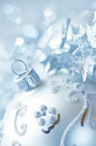Silver christmas ball closeup Royalty Free Stock Image
