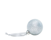 Silver Christmas ball decoration Stock Images