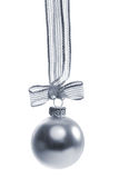 Silver christmas ball isolated Royalty Free Stock Images