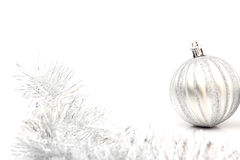 Free Silver Christmas Ball On White Royalty Free Stock Image - 27785456
