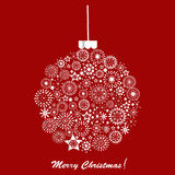 Silver Christmas ball over red background. Holiday card Stock Photo