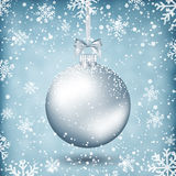 Silver christmas ball with ribbon and bow. On light background with snow and snowflakes. template for greeting or postal card new year, vector illustration Royalty Free Stock Photos