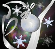 Silver christmas ball with ribbon on fractal background Stock Photo