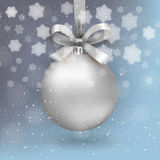 Silver christmas ball. With ribon and bow on light blue background with snow and snowflakes. template for greeting or postal card new year, vector illustration Stock Images