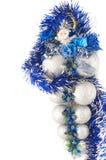 Silver christmas ball with Santa claus Stock Image