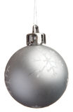 Silver Christmas ball with snowflakes Royalty Free Stock Photos