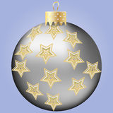Silver Christmas ball. With stars ornament Stock Images