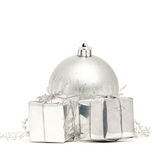 Silver Christmas ball with two boxes Royalty Free Stock Photography