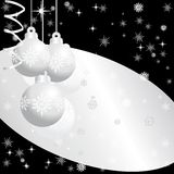 Silver  christmas balls 12. Silver  christmas balls on  black background Royalty Free Stock Photos
