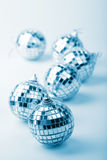 Silver christmas balls. Toned blue stock photo