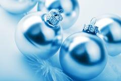 Silver christmas balls. Toned blue stock photos