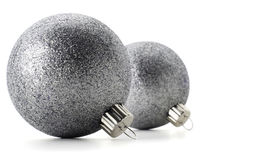 Silver Christmas Balls. Isolated on white royalty free stock images