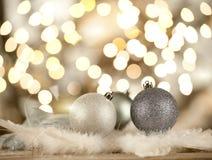 Silver christmas balls Royalty Free Stock Photos