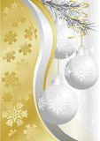 Silver christmas balls. On gold background Stock Image