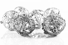 Silver Christmas balls. Silver balls on white background with small reflection stock images