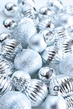 Silver christmas balls stock image