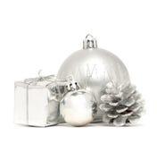 Silver Christmas balls with box and bump Stock Image