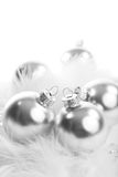 Silver christmas balls isolated Royalty Free Stock Photo