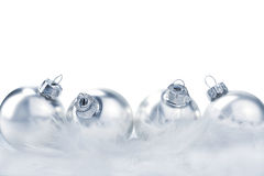 Silver christmas balls isolated Royalty Free Stock Image