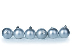 Silver christmas balls isolated Stock Images