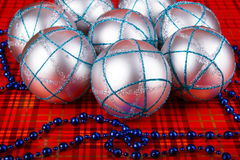 Silver Christmas balls Stock Photo