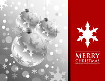 Silver Christmas Balls with Snowflakes Royalty Free Stock Photo