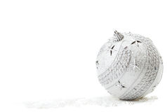 Silver Christmas bauble Stock Photography