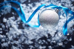 Silver christmas bauble scene background Royalty Free Stock Photo