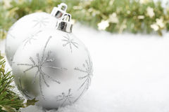 Silver Christmas baubles. Stock Image