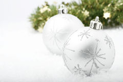 Silver Christmas baubles. Royalty Free Stock Photo