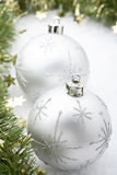 Silver Christmas baubles. Royalty Free Stock Image