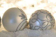 Silver Christmas baubles Royalty Free Stock Images